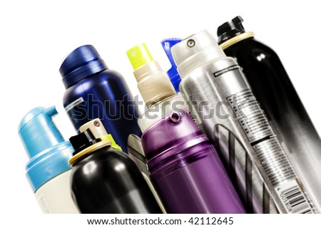 Color aerosols isolated on white background