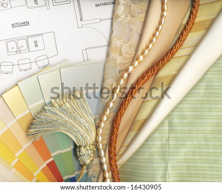 color and textile swatches - stock photo