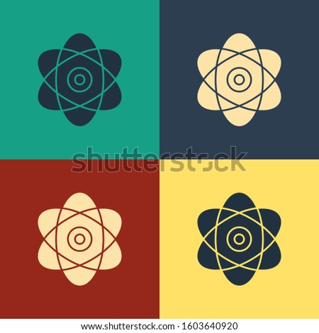 Color Atom icon isolated on color background. Symbol of science, education, nuclear physics, scientific research. Electrons and protons sign. Vintage style drawing.