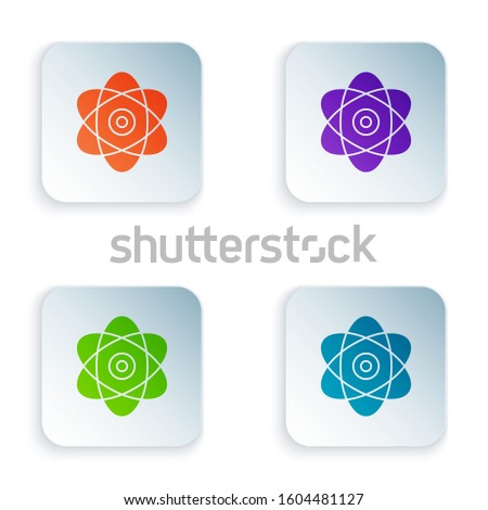 Color Atom icon isolated on white background. Symbol of science, education, nuclear physics, scientific research. Electrons and protons sign. Set icons in colorful square buttons.