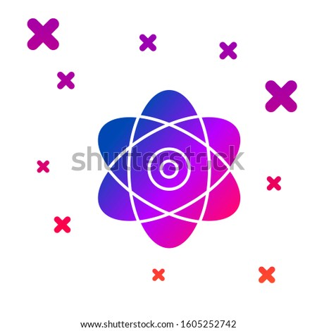 Color Atom icon isolated on white background. Symbol of science, education, nuclear physics, scientific research. Electrons and protons sign. Gradient random dynamic shapes.
