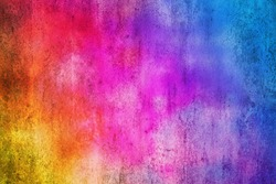 Color background. Grunge red blue and yellow painted on concrete wall.