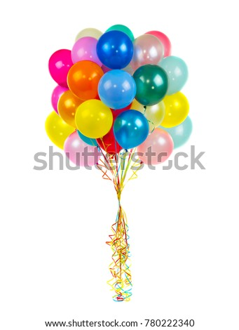 color balloons on a white background