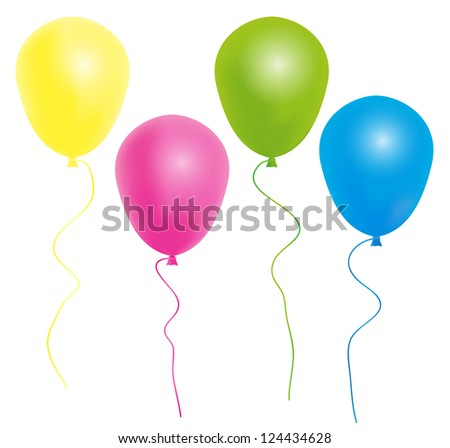 Color Balloons With Ribbon Isolated on White Background