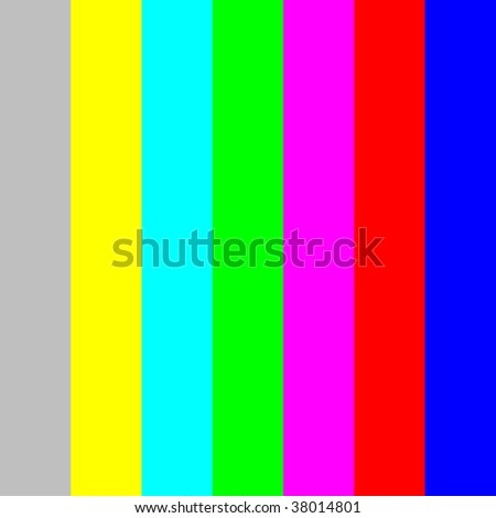 Color bars for TV screen and monitor calibration