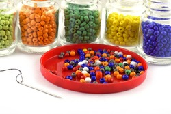 Color beads with needle.Beads in bottle.used in finishing fashion clothes. make bead necklace, beads for women of fashion,Bead Crochet. Daily Beading.