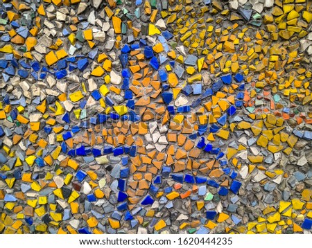 color beautiful mosaic. stone mosaic on the wall