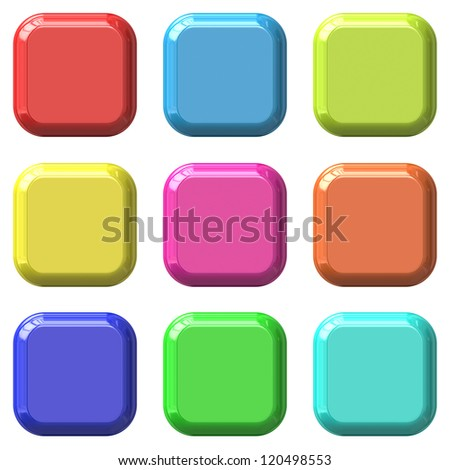 Color blank square glossy buttons set. Illustration.