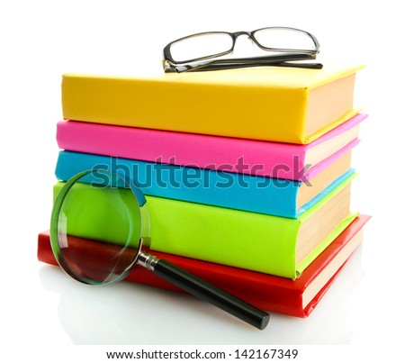 color books with magnifying glass isolated on white