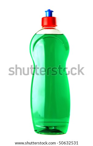 color bottle of clean soap isolated on white