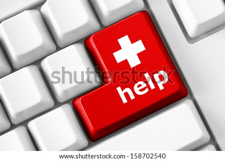 Color button on the keyboard with medicine image and help  text. Health care concept