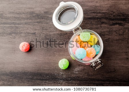 Color candy, childhood memories, childhood taste