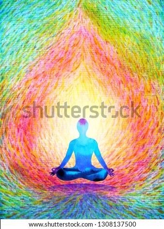 color chakra human lotus pose yoga, abstract world, universe inside your mind mental, watercolor painting illustration design hand drawn