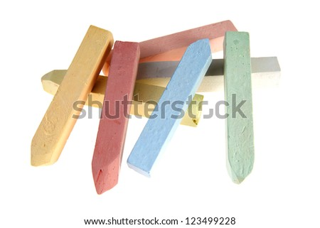 color chalks  on  white background