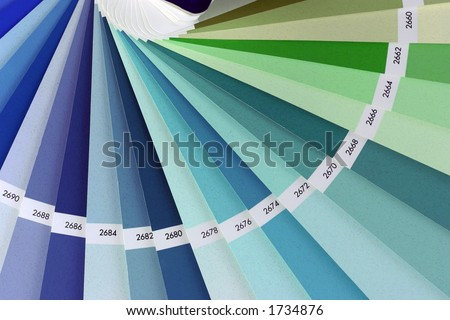 Color chart book closeup. Used to paint exteriors. - stock photo