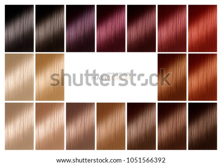 Color chart for hair dye. Hair color palette with a wide range of swatches arranged on a card in neat rows with central white copy space in a hair salon or styling concept. Tints. Hair colour set.