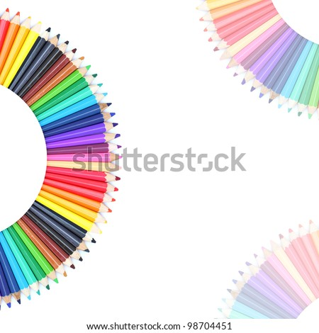 Color chart made of color pencils - stock photo