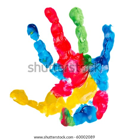 color child hand print