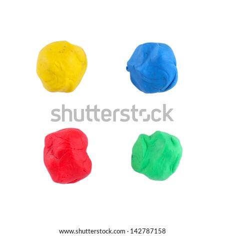 Color children's plasticine on a white background