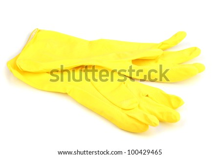 Color cleaning gloves isolated on white