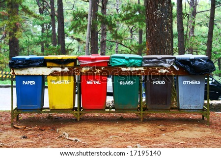 color coded trash bins for waste segregation
