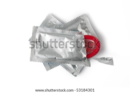 color condom on white background