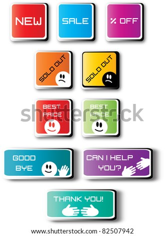 color creative labels with text, print, shopping, sale and life style,computer graphic design, funny stickers,color layout