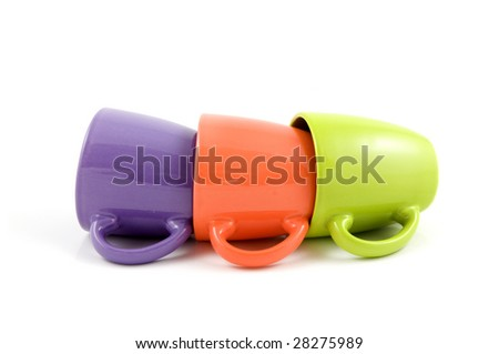 Color cups isolated on white background