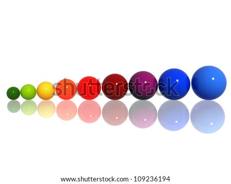 Color 3d chart from balls over white with reflection - stock photo