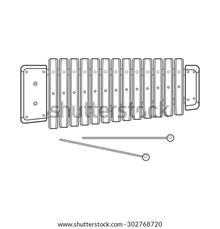 outline wood xylophone Xylophone Outline