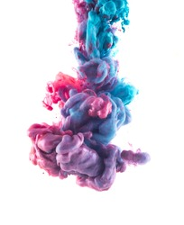 Color drop underwater. Ink swirling in water. Cloud of silky ink in water isolated on white background. Colorful ink in water, ink drop. Abstract flowers.