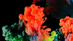 Color drops in water , abstract color mix , drop of Ink color mix paint falling on water Colorful ink in water,
