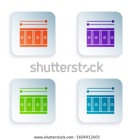 Color Drum with drum sticks icon isolated on white background. Music sign. Musical instrument symbol. Set icons in square buttons.