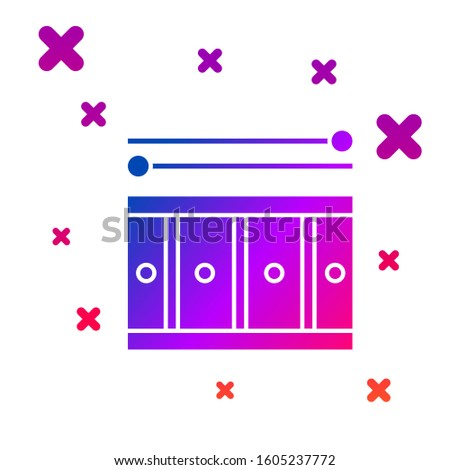 Color Drum with drum sticks icon isolated on white background. Music sign. Musical instrument symbol. Gradient random dynamic shapes.