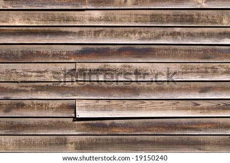 Color DSLR image of old, weathered red and brown cedar siding or panelling. Horizontal orientation with copy space for text.