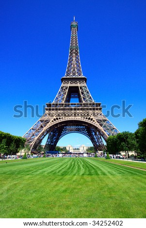 Color DSLR image of the Eiffel Tower, Paris, France, from Champ de Mars, with blue sky background and an open green grass field. A popular tourist destination. Vertical with copy space for text.