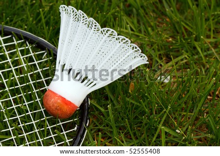 Color DSLR image of white and red badminton shuttlecock or birdie and racket on green grass lawn. Sport is popular activity in summer backyards. Horizontal orientation with copy space for text.
