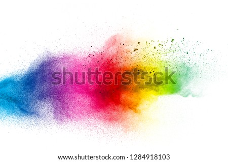 Color dust splash cloud on white background. Launched colorful particles on background. #1284918103