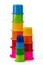color educational pyramid made of plastic for children on a white isolated background