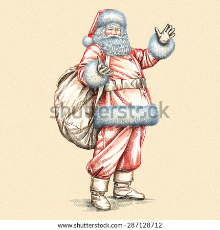 color engrave isolated Santa Claus carrying big bag full of gifts