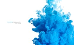 Color explosion. Closeup blue acrylic ink in water isolated on white with copy space for text