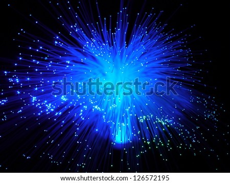 color fiber optic cables  on black background