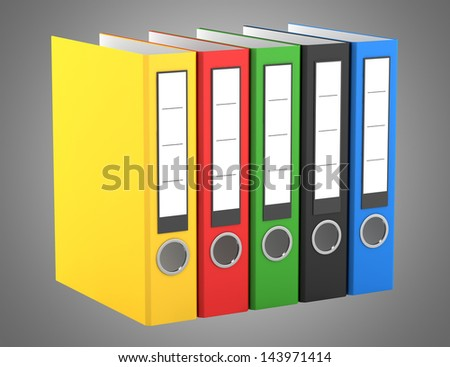 color file folders isolated on gray background
