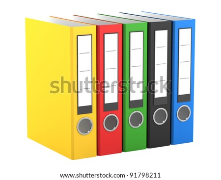 color file folders isolated on white background