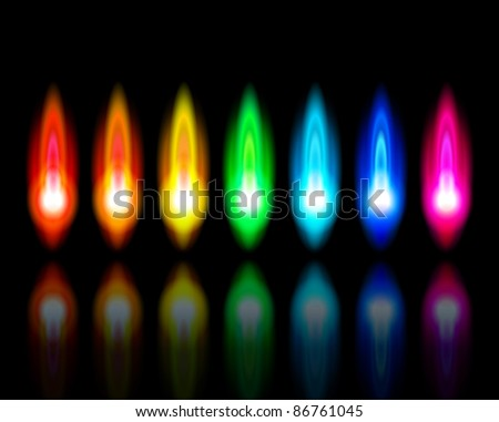 Color flames of a burning natural gas and reflection on black background. Bitmap copy my vector id 72058546