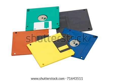 Color Floppy disks are on a white background