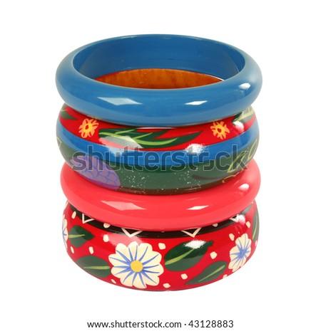 color flowers wooden bracelet