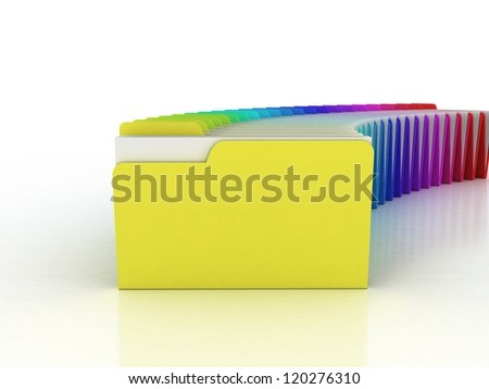 Color  folder. File 3D. Icon isolated on white background