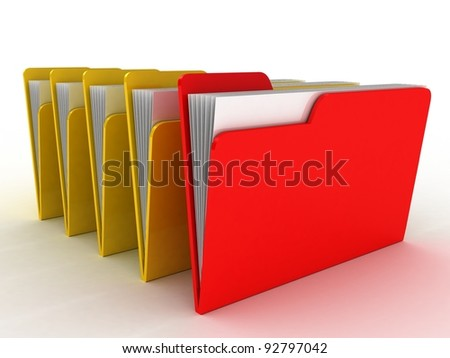 Color  folder. File 3D. Icon isolated on white background - stock photo