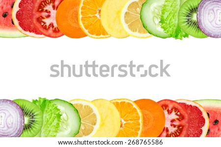 Shutterstock Color fruit and vegetable slices on white background. Food concept